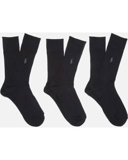 Men's Egyptian Cotton Ribbed Socks (3 Pack)