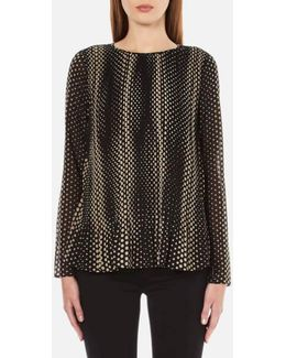 Women's Aralia Long Sleeve Pleated Top