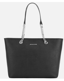 Jet Set Travel Chain Top Zip Tote Bag