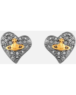 Jewellery Women's Tiny Diamante Heart Stud Earrings