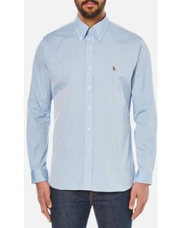Men's Custom Fit Button Down Pinpoint Oxford Shirt