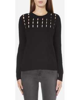 Women's Slash Neck Crew Sweater