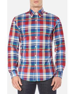 Slim-fit Checked Stretch-oxford Shirt