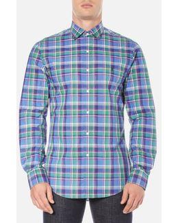 Men's Long Sleeve Checked Poplin Shirt