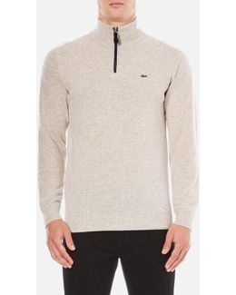 Men's Half Zip Funnel Neck Jumper