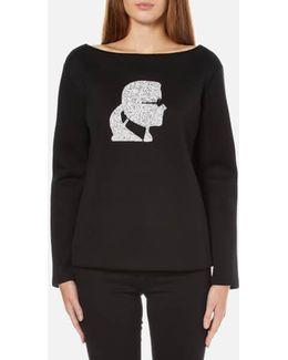 Women's Sparkle Karl Head Sweatshirt