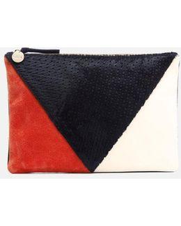 Women's Patchwork V Flat Clutch Bag