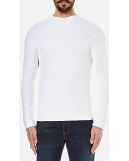 Men's Seamless Horizontal Ribbed Knitted Jumper