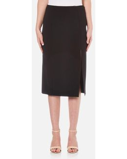 Women's Stretch Poly Twill Slick Pencil Skirt With Slit