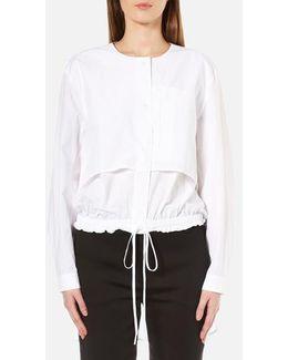 Women's Long Sleeve Cinch Waist Shirt Tail Pullover