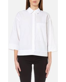 Women's Pure 3/4 Sleeve Shirt With Hidden Placket And Pocket