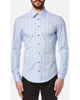 Men's Stretch Poplin Stripe Long Sleeve Shirt