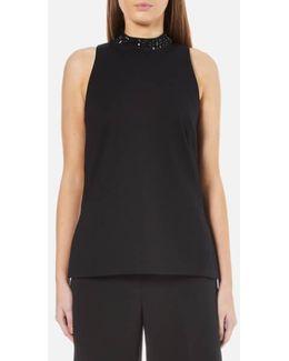 Women's Embellished Split Hem Tunic Top