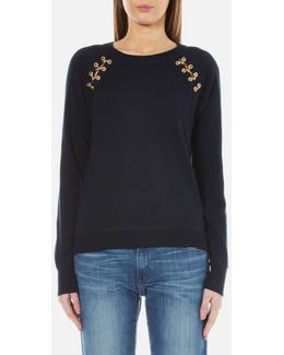 Women's Laced Grommet Sweatshirt