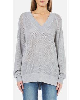 Women's Hi Lo Vneck Sweatshirt