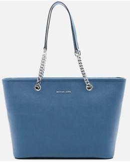 Women's Jet Set Travel Chain Top Zip Tote Bag