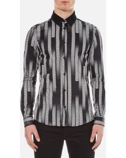 Men's All Over Printed Shirt With Contrast Collar