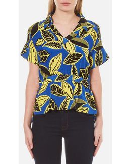 Women's Vneck Printed Blouse With Collar
