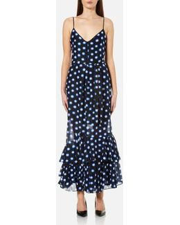 Women's Dotted Strappy Maxi Dress