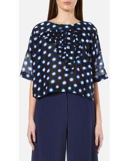 Women's Short Sleeve Ruffle Front Blouse