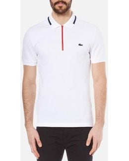 Men's 'made In France' Zip Polo Shirt White/ship