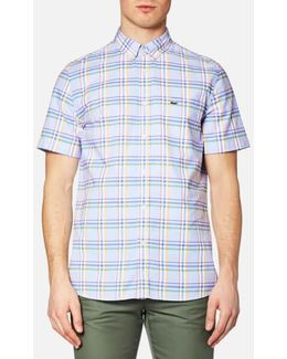 Men's Short Sleeve Check Shirt Flower Purple/mandarin