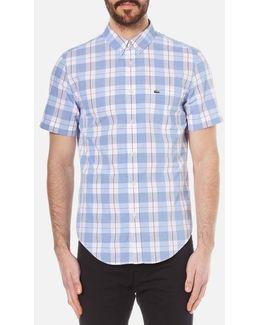 Men's Short Sleeve Check Shirt Methylene/flower Purple