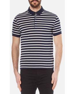 Men's Striped Mini Pique Polo Shirt