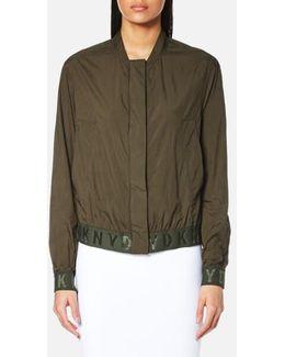Women's Long Sleeve Bomber Jacket With Elastic Logo Trims