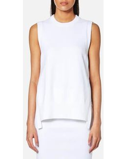 Women's Sleeveless Crew Neck Mixed Media Top With Side Slits