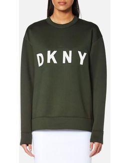 Women's Extra Long Sleeve Crew Neck Sweatshirt With Logo