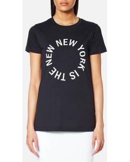 Women's Large New Ny Logo Crew Neck Tshirt