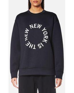 Women's Large New Ny Logo Tech Jersey Sweatshirt