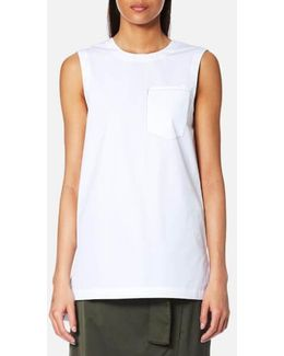 Women's Sleeveless Shirt With Step Hem And Front Pocket