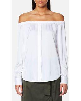 Women's Long Sleeve Off The Shoulder Button Through Shirt
