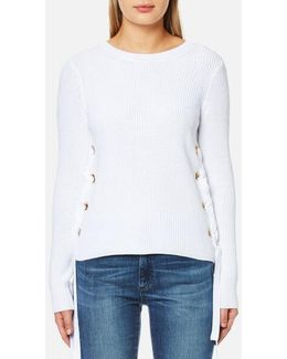 Women's Side Lace Up Side Crew Neck Jumper