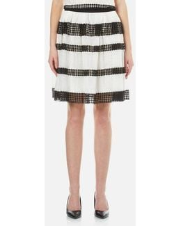 Women's Stripe Lace Full Skirt