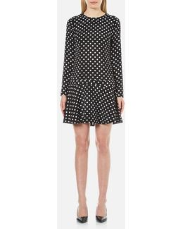 Women's Evelyn Dot Flounced Dress