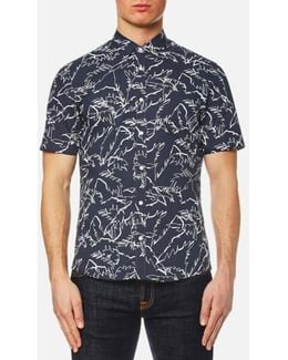 Men's Slim Fit Palm Print Long Sleeve Shirt