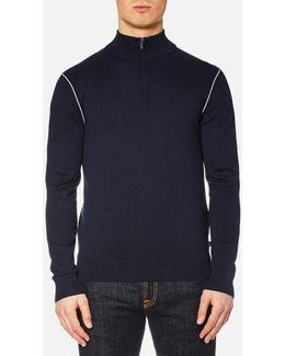 Men's Cotton Tip Half Zip Mock Neck Knit Jumper