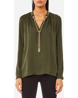 Women's Slit Long Sleeve Chain Neck Top