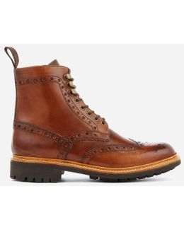 Men's Fred Hand Painted Leather Commando Sole Lace Up Boots