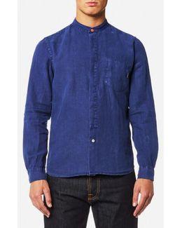 Men's Grandad Collar Tailored Fit Long Sleeve Shirt