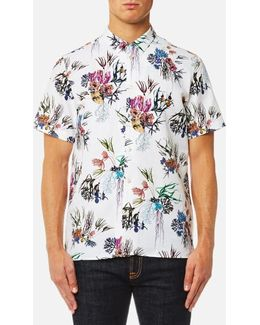 Men's Casual Fit Large Floral Short Sleeve Shirt
