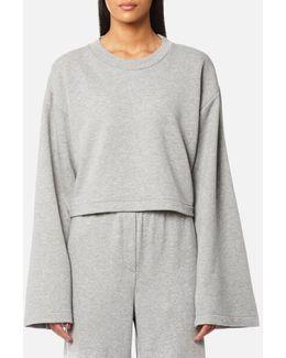 Women's Tie Back Long Sleeve Crop Sweatshirt