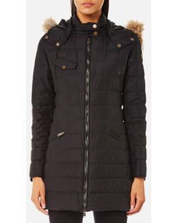 Women's Melcombe Long Quilted Coat With Fur Hood