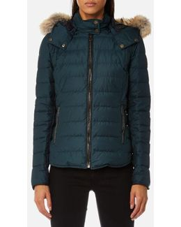 Women's Avedon Short Quilted Jacket With Fur On Hood