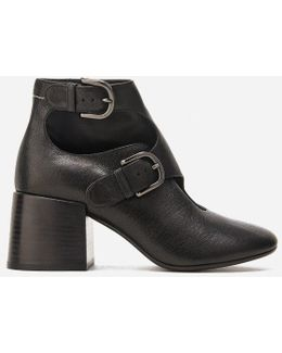 Women's Double Buckle Heeled Ankle Boots