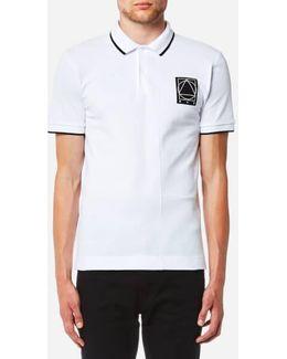 Men's Tonal Patch Colourblock Pique Polo Shirt