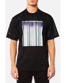 Men's Athletic Mesh Tshirt With Purple Chrome Barcode